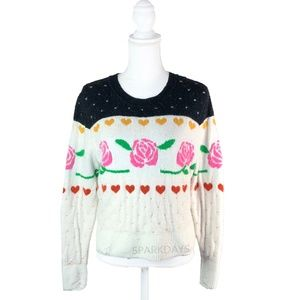 WildFox	Black White Hearts Roses ColorBlock | S